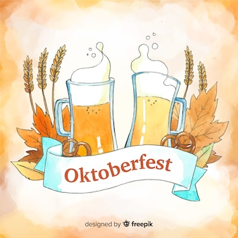 Colorful watercolor oktoberfest composition