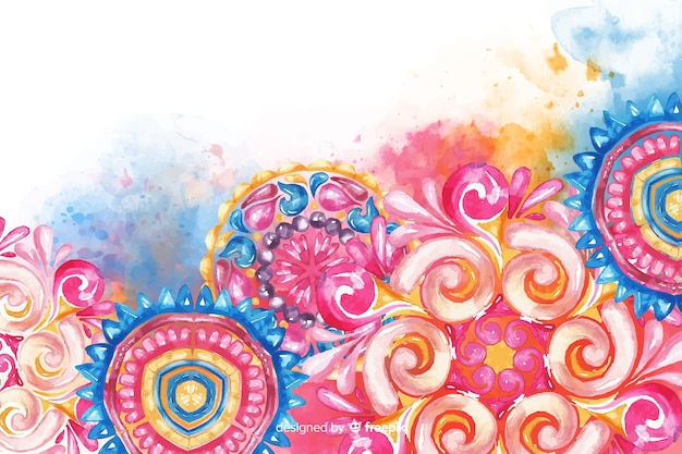 Colorful watercolor ornamental flower background