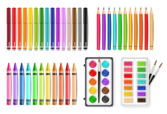 Colorful watercolor palette tools
