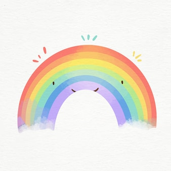 Colorful watercolor rainbow illustrated