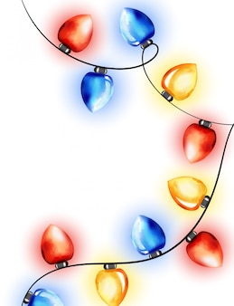 Colorful watercolor red, blue and yellow fairy lights