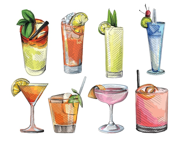 Colorful watercolor sketch set of drinks in cocktail glasses. alcohol beverages.