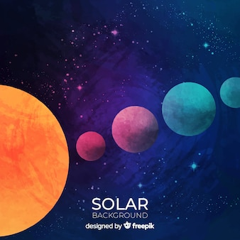 Colorful watercolor solar system scheme