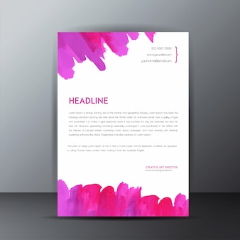 Colorful watercolor splatter letterhead template