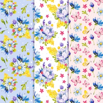 Colorful watercolor spring pattern collection