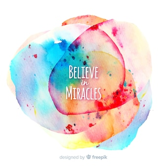 Colorful watercolor stain background with motivational quote