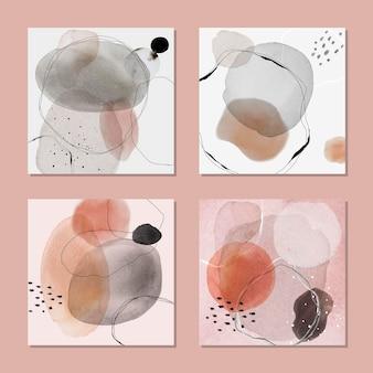 Distintivo colorato macchia acquerello set modello di annunci social vector