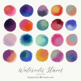 Colorful watercolor stain collection