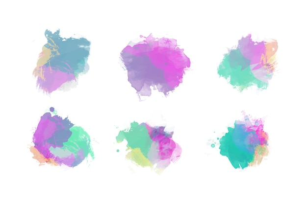 Colorful watercolor stains collection
