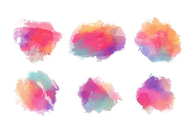 Colorful watercolor stains set