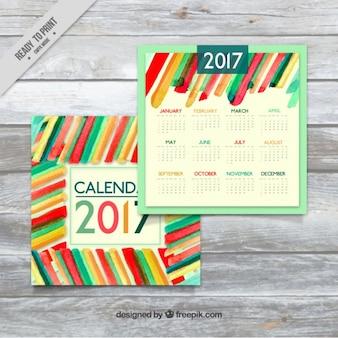 Colorful watercolor stripes 2017 calendar