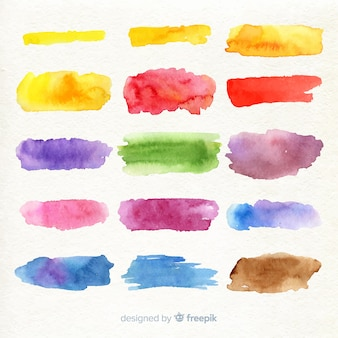 Colorful watercolor stroke collection