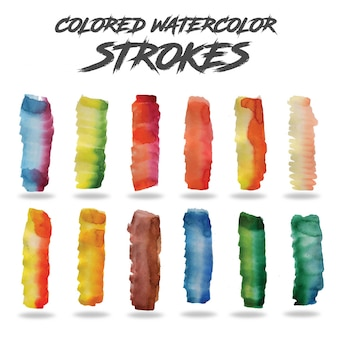 Colorful watercolor strokes