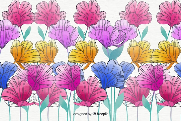Colorful watercolor style floral background