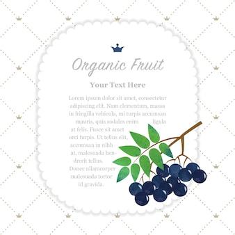 Красочная акварель текстуры природа органические фрукты памятная рамка черная рябина