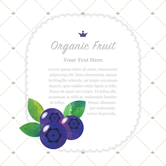 Colorful watercolor texture nature organic fruit memo frame blueberry