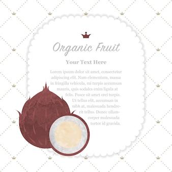 Красочная акварель текстуры природа органические фрукты памятка рамка кокос