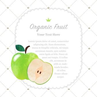 Красочная акварель текстуры природа органические фрукты памятка рамка зеленое яблоко