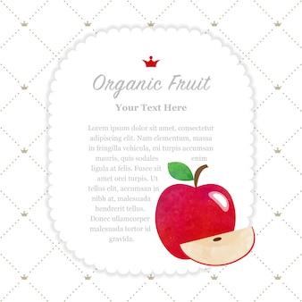 カラフルな水彩テクスチャ自然有機フルーツメモフレーム赤いリンゴ