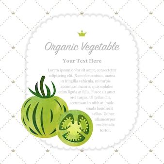 カラフルな水彩テクスチャ自然有機野菜メモフレームゼブラグリーントマト