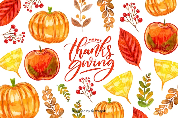 Colorful watercolor thanksgiving background