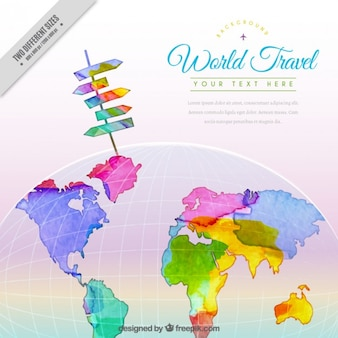 Colorful watercolor travel background with a map
