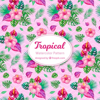 Colorful watercolor tropical pattern