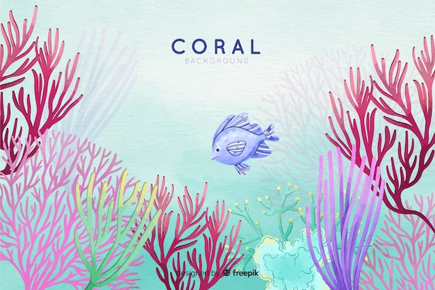 Colorful watercolor underwater coral background