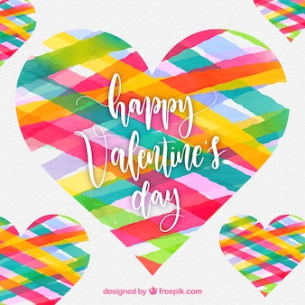 Colorful watercolor valentine's day background