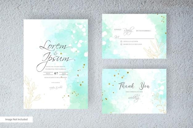 エレガントなスタイルと抽象的な手描きの液体水彩でカラフルな水彩の結婚式の招待カード