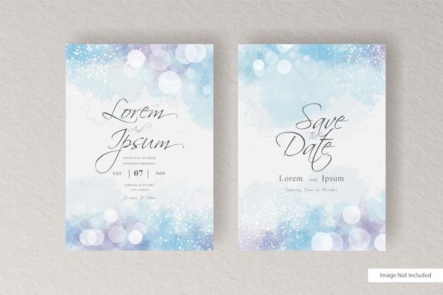 カラフルな水彩画の結婚式の招待状のスプラッシュと抽象的な動的流体