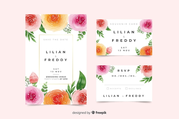 Colorful watercolor wedding stationery template