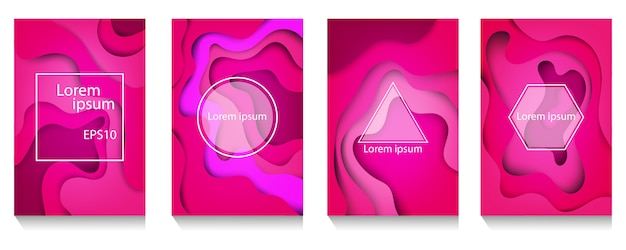 Colorful wave and fluid shapes pink background