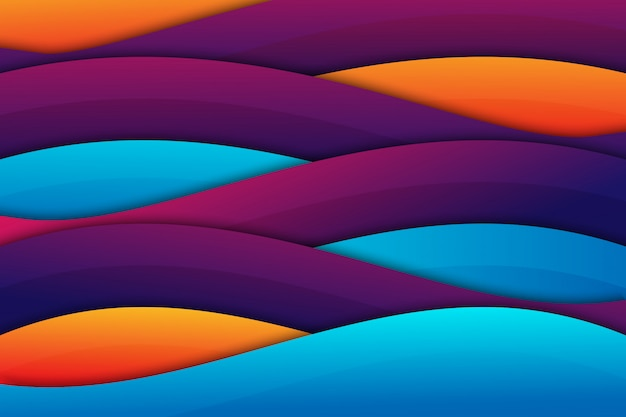 Colorful wave geometric papercut background