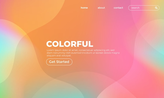 Colorful wave gradient background landing page