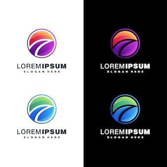 Colorful wave logo set