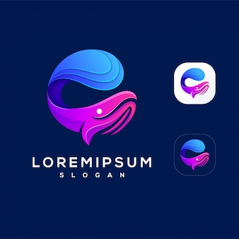 Colorful wave whale logo