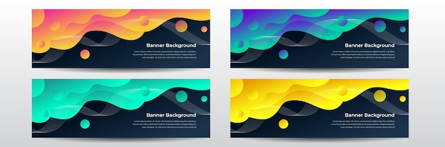 Colorful wave wide banner background. web banner design, template header for site. abstract website header set