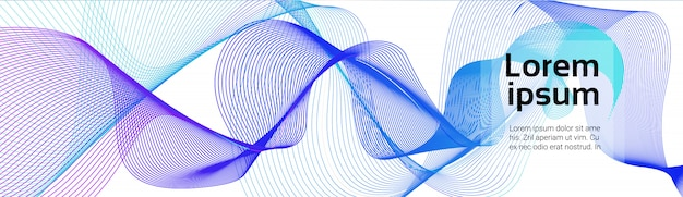 Colorful waves abstract blue lines on white background soft futuristic smoothe horizontal banner