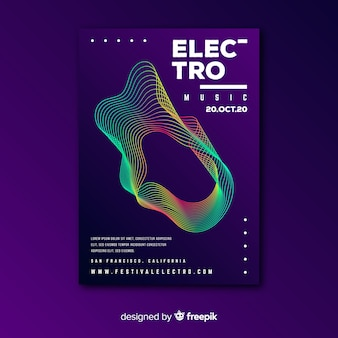 Colorful waves music poster template