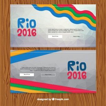 Colorful waves and stripes brazil banners