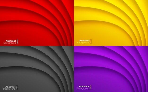 カラフルな波状の背景セット。名刺モダンパターン。紙の曲線の影のテクスチャ。現代的なプレゼンテーション。