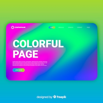 Colorful wavy landing page