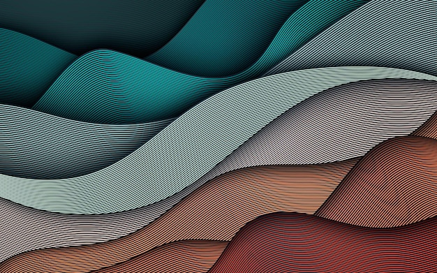 Colorful wavy lines background. dynamic textured element. modern gradient light  illustration.