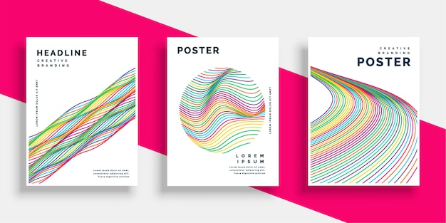 Colorful wavy lines cover flyer poster designs set