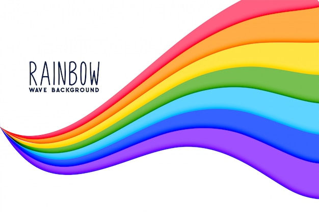Colorful wavy rainbow flow background