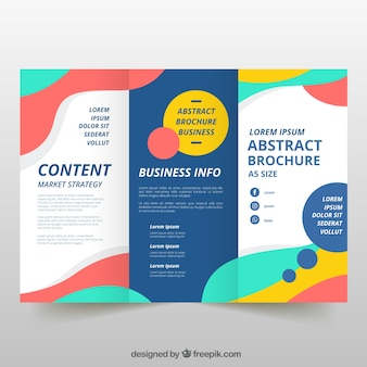 Colorful wavy trifold business flyer