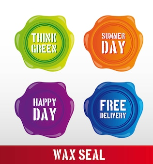 Colorful wax seal with text over gray background vector