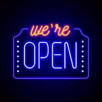 Colorful 'we are open' neon sign