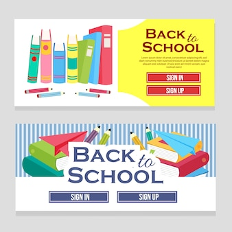 Colorful web banner school theme with books flat